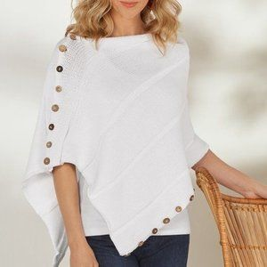 Soft Surroundings So Right Button Poncho Shawl OS